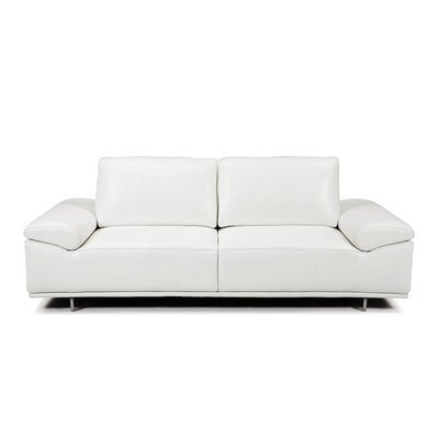 Roxanne Leather Reclining Sofa Upholstery: White