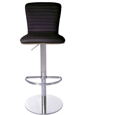 Adjustable Height Bar Stool Upholstery: Brown