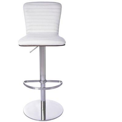 Adjustable Height Bar Stool Upholstery: White