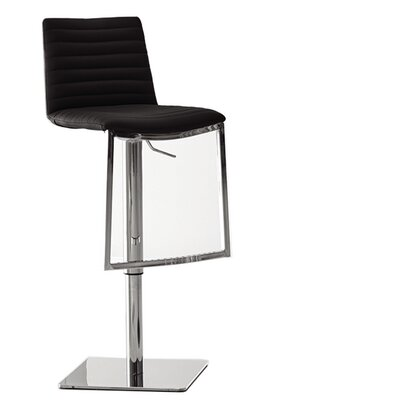London Adjustable Height Bar Stool Upholstery: Black