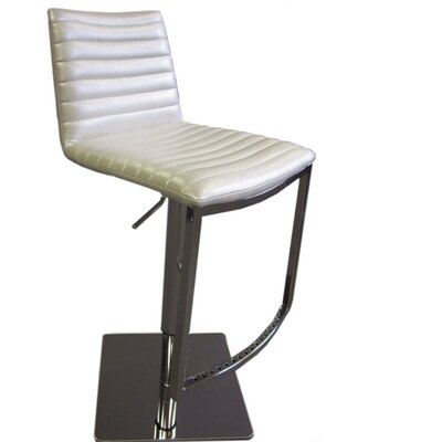 London Adjustable Height Bar Stool Upholstery: Silver