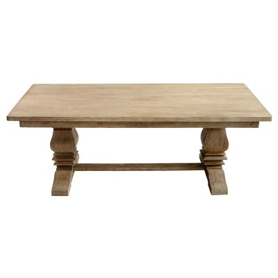 Santa Fe Balustrade Dining Table with a Solid Top 7 ft Finish Rustic Mango Grey Wash