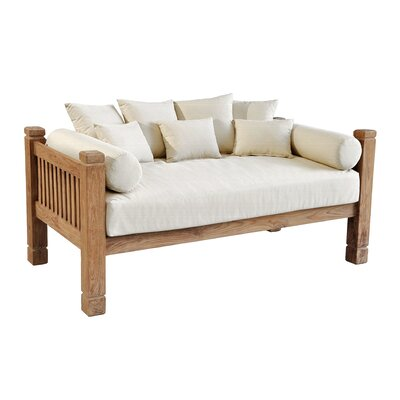 Tahoe Reclaimed Teak Day Bed with Cushions Color: Cream