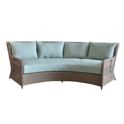 Palma Curved Sofa with Cushions Fabric: Blue