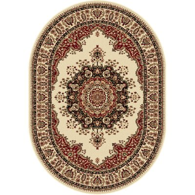Clarence Ivory/Red Area Rug Rug Size: Oval 7 x 10