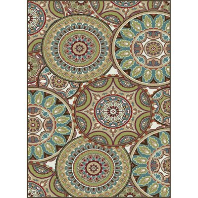 Sherlene Beige/Green Area Rug Rug Size: Rectangle 5 x 8