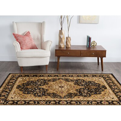 Sacha Traditional 3 Piece Black/Brown Area Rug Set