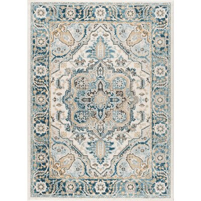 Peyton Traditional Beige/Blue Area Rug Rug Size: 710 x 103
