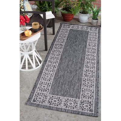 Veranda Traditional Black Indoor/Outdoor Area Rug Rug Size: Runner 2'7'' x 7'3''