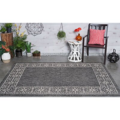 Veranda Traditional Black Indoor/Outdoor Area Rug Rug Size: 7'10'' x 10'3''