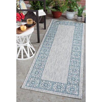 Veranda Traditional Teal Indoor/Outdoor Area Rug Rug Size: Runner 27 x 73