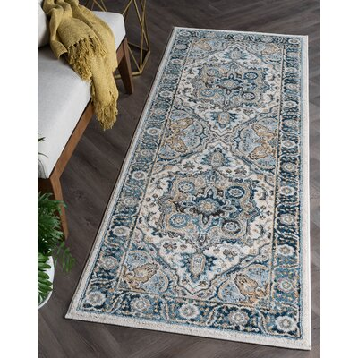 Peyton Traditional Beige/Blue Area Rug Rug Size: Runner 27 x 73