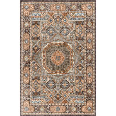 Beryl Traditional Beige/Orange Area Rug Rug Size: 53 x 73