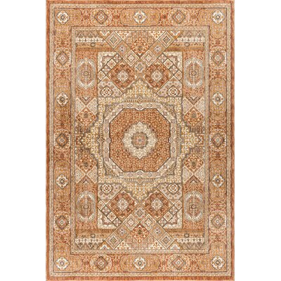 Matteson Traditional Oriental Orange Area Rug Rug Size: 67 x 96