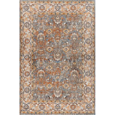 Beryl Traditional Blue/Orange Area Rug Rug Size: 53 x 73