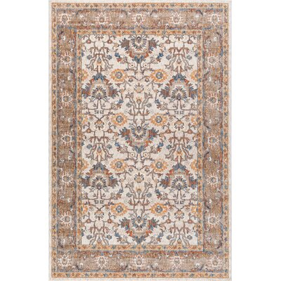 Beryl Traditional Ivory/Blue Area Rug Rug Size: 53 x 73
