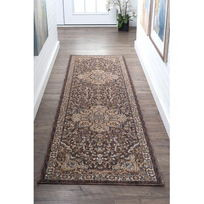 Beryl Traditional Brown/Beige Area Rug Rug Size: 93 x 126