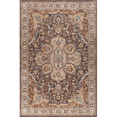 Beryl Traditional Brown/Beige Area Rug Rug Size: 53 x 73