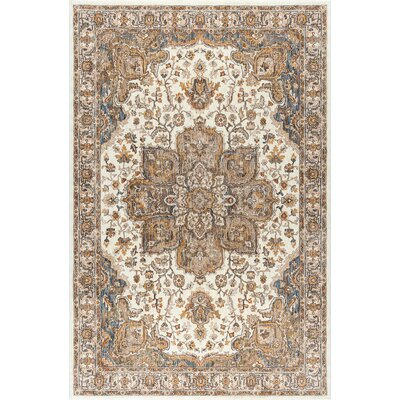 Beryl Traditional Ultra Soft Ivory/Orange Area Rug Rug Size: 53 x 73