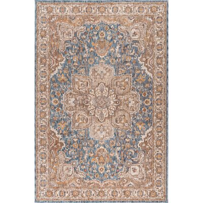 Beryl Traditional Navy/Orange Area Rug Rug Size: 93 x 126