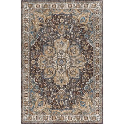 Beryl Traditional Oriental Brown/Blue Area Rug Rug Size: 710 x 103