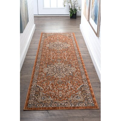 Beryl Traditional Orange/Brown Area Rug Rug Size: Runner 23 x 73
