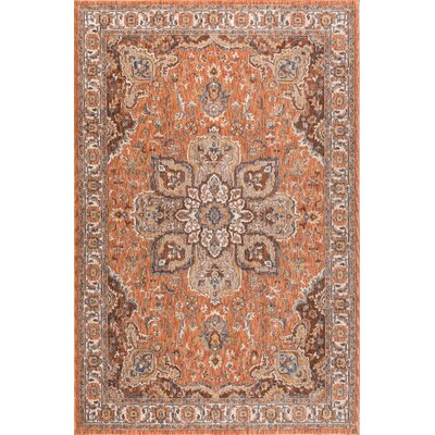 Beryl Traditional Orange/Brown Area Rug Rug Size: 93 x 126