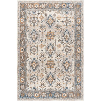 Matteson Traditional Ivory/Orange Area Rug Rug Size: 53 x 73