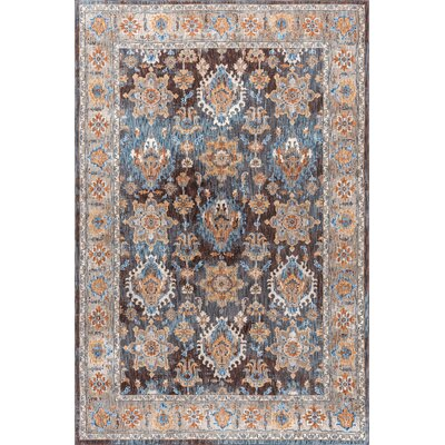 Beryl Traditional Brown/Blue Area Rug Rug Size: 53 x 73