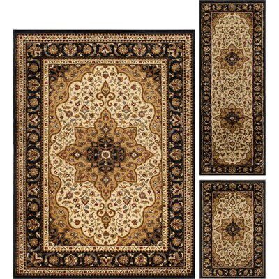 Sacha 3 Piece Ivory/Brown Area Rug Set