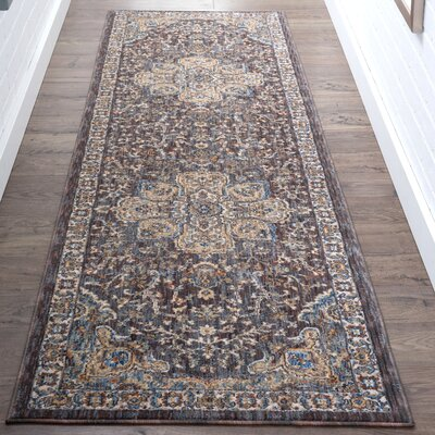 Beryl Traditional Oriental Brown/Blue Area Rug Rug Size: Runner 23 x 73