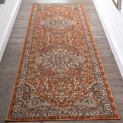 Beryl Traditional Orange/Brown Area Rug Rug Size: 2 x 3