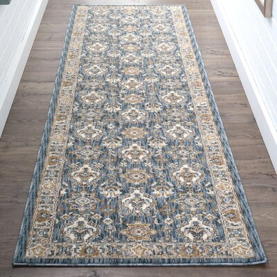 Matteson Traditional Navy/Beige Area Rug Rug Size: Runner 23 x 11