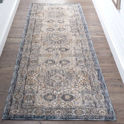 Matteson Traditional Oriental Navy/Beige Area Rug Rug Size: Runner 23 x 73