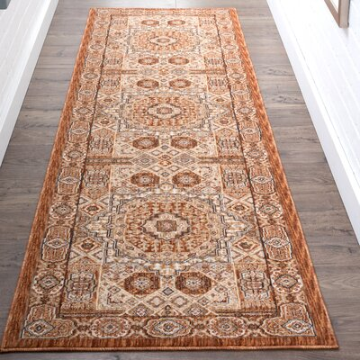 Matteson Traditional Oriental Orange Area Rug Rug Size: Runner 23 x 73