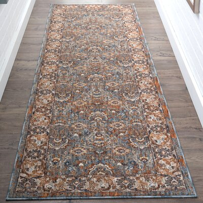 Beryl Traditional Blue/Orange Area Rug Rug Size: Runner 23 x 73