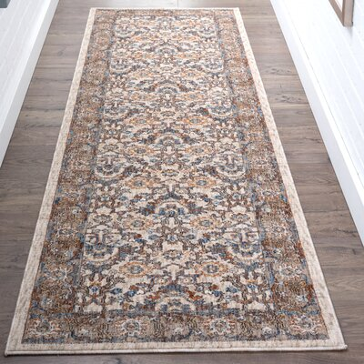 Matteson Traditional Ivory/Blue Area Rug Rug Size: Runner 2'3