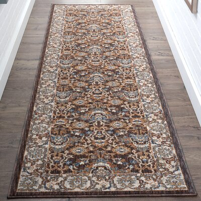 Beryl Traditional Brown/Orange Area Rug Rug Size: Runner 23 x 73