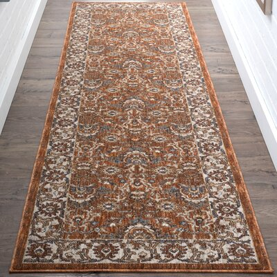 Beryl Traditional Orange Area Rug Rug Size: 53 x 73