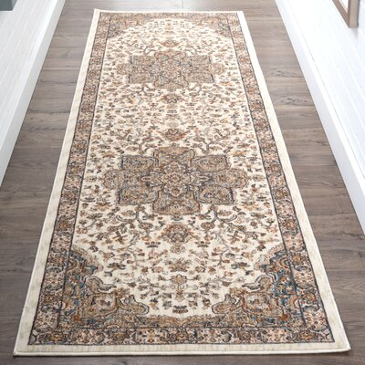 Beryl Traditional Ultra Soft Ivory/Orange Area Rug Rug Size: Runner 23 x 73