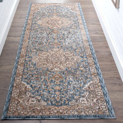 Matteson Traditional Navy/Orange Area Rug Rug Size: Runner 23 x 73