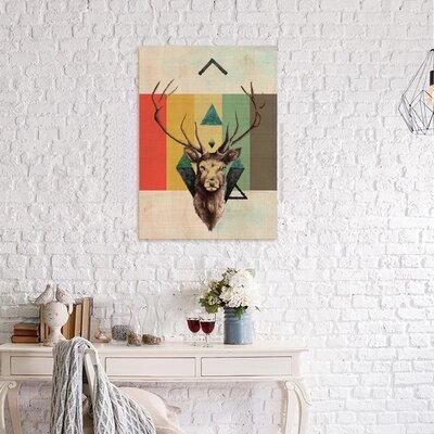 'Deer Portrait' Print on Wood