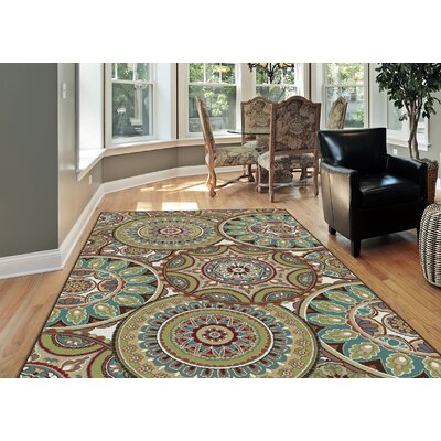 Sherlene Beige/Green Area Rug Rug Size: Rectangle 9 x 12