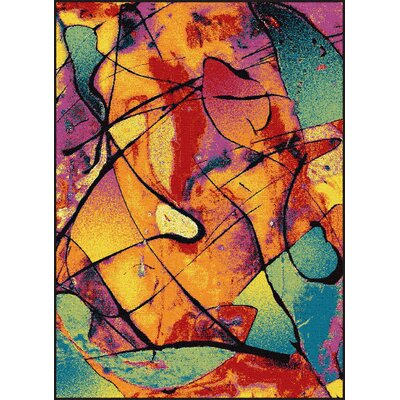 Weisinger Orange/Blue Area Rug Rug Size: Rectangle 4 x 6