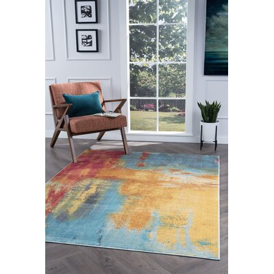 Ceasar Modern Yellow/Blue Area Rug Rug Size: Rectangle 53 x 73