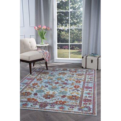 Dominick Modern Floral Blue/Pink Area Rug Rug Size: 710 x 103