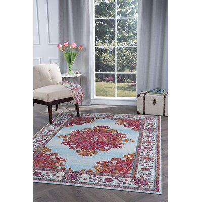 Dominick Blue/Pink Area Rug Rug Size: 53 x 73
