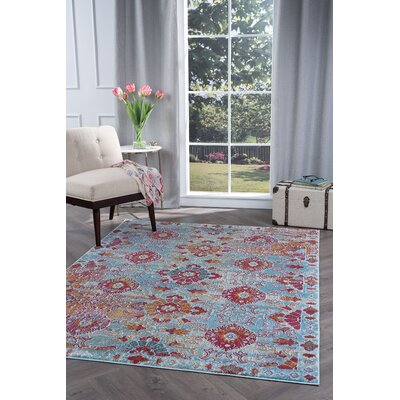 Dominick Modern Rectangle Blue/Pink Area Rug Rug Size: 53 x 73