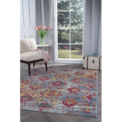 Dominick Modern Floral Gray Area Rug Rug Size: 53 x 73