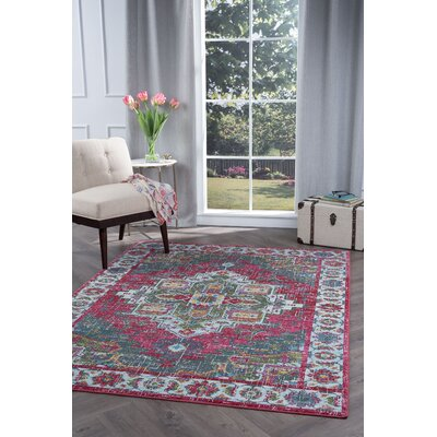 Dominick Transitional Pink Area Rug Rug Size: 53 x 73